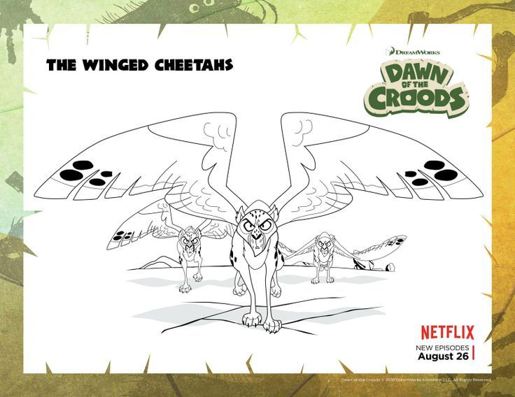 Dawn Of The Croods Winged Cheetahs Coloring Page Coloring Pages Printable Coloring Pages Free Printable Coloring Pages