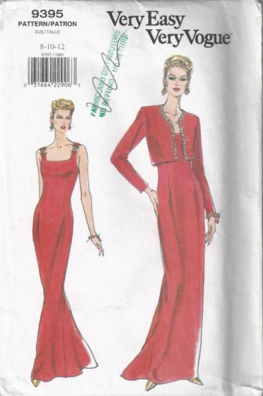 90s Vintage Vogue Pattern 9395 Evening Dress With Bolero Jacket