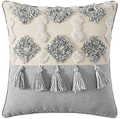 MIULEE Decorative Throw Pillow Cover Tribal Boho Woven Tufted Pillowcase with Tassels Super Soft Pillow Sham Cushion Case for Sofa Couch Bedroom Car Living Room 18X18 Inch Gray and Beige
