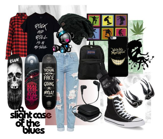 Sk8r by iamgrootiamgroot on Polyvore featuring Sweet Skateboards, Topshop, JanSport, Converse and Fun Rugs