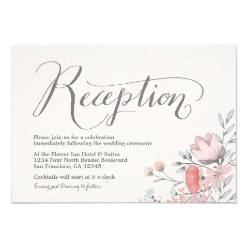 Handwritten Vintage Floral Wedding Reception Card