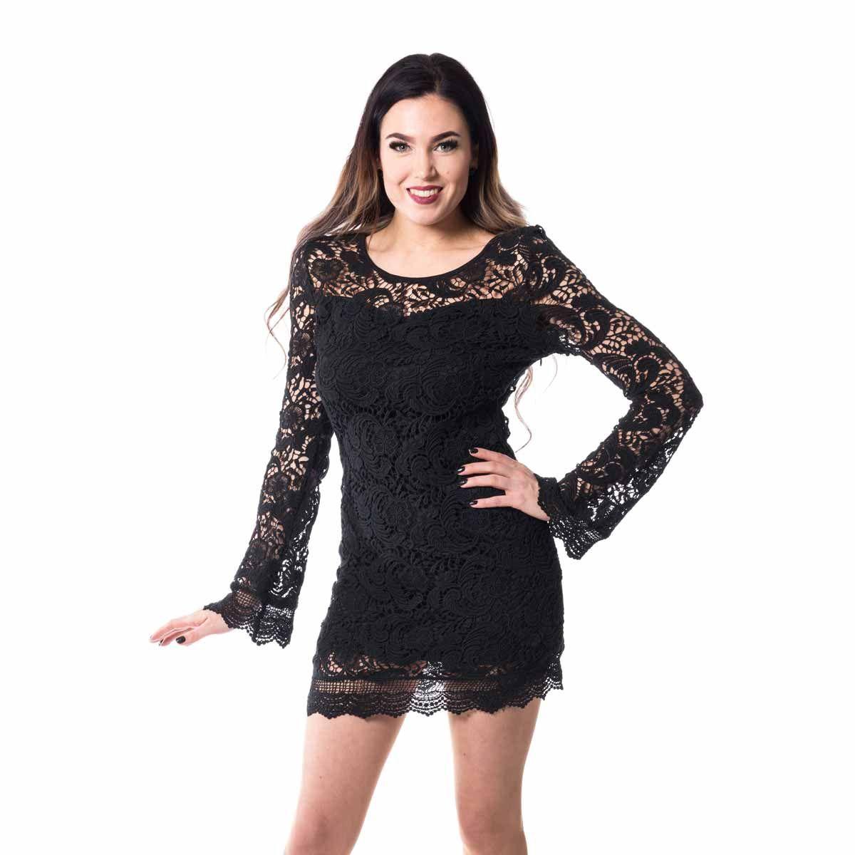 schwarzes minikleid mit häkelspitze und weitem Ärmeln