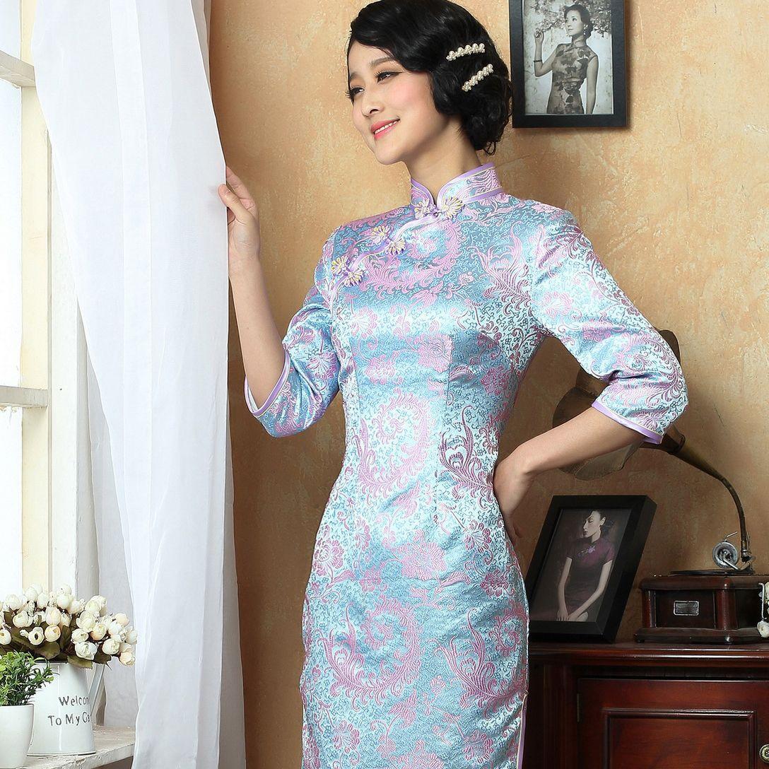 Retro cap sleeve silk floral summer cheongsam short mandarin collar