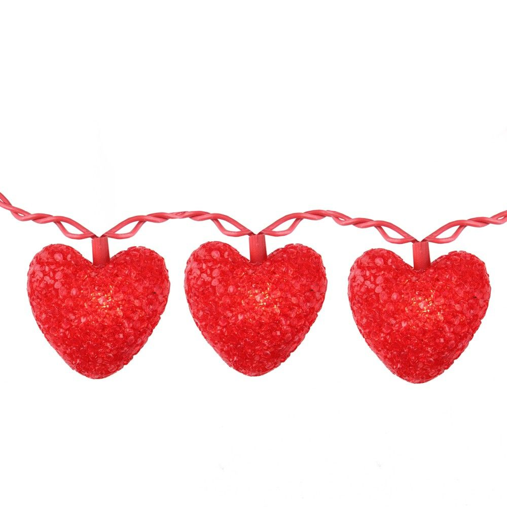 Northlight 10-Count Red Heart Mini Valentine's Day Light Set, 7.5ft Red Wire