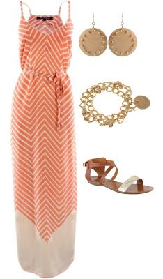 Coral chevron striped maxi dress, another one to add to the wish list. :)
