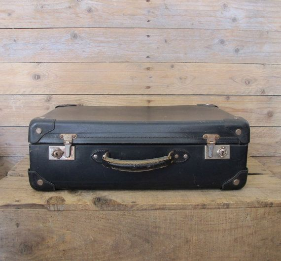 Vintage French navy cardboard suitcase by MaisonW on Etsy