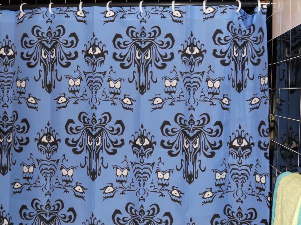 Blue Haunted Mansion Wallpaper Shower Curtain