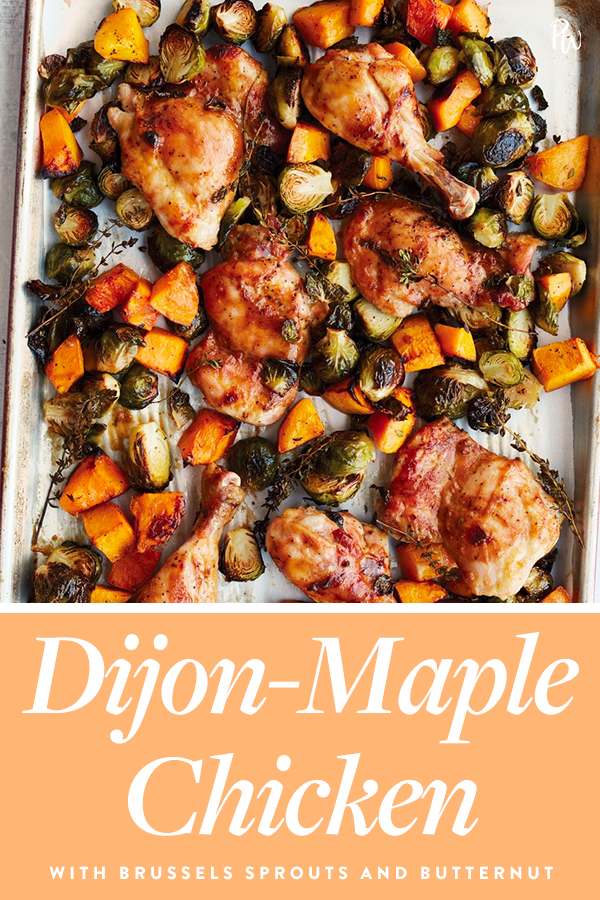 Dijon-Maple Chicken with Brussels Sprouts and Butternut Squash #fallrecipesdinner