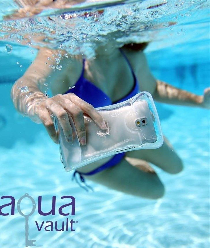 """4065861a7dda AquaVault® Waterproof Phone Case fits phones up to 5.7"""" (iPhone 6+). It has  a patented floating airbag and a neck strap to keep your phone dry in the  water ..."""
