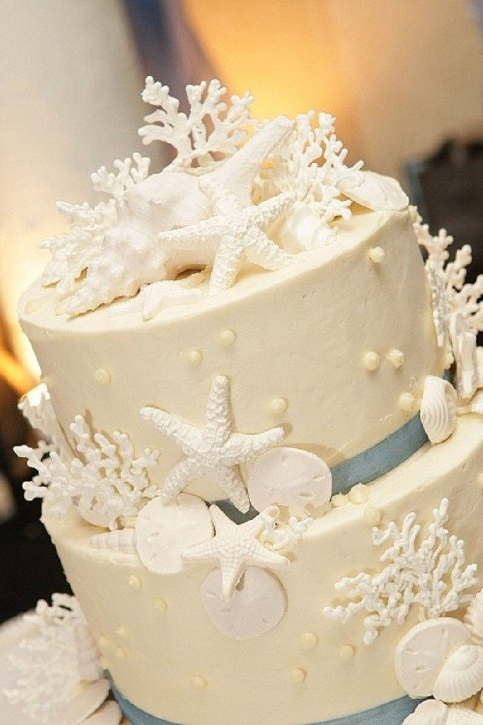 Gorgeous Beach Wedding Cake White And Powder Blue With Images