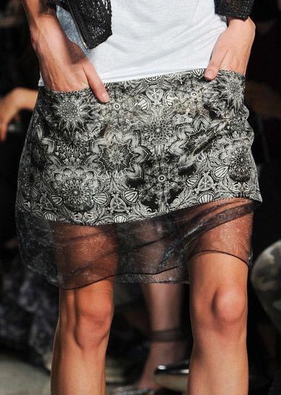 Prints under Sheer Organza ,  Hidden Beauty under Sheer Skirt Trend for Spring Summer 2013.  Helmut LangSpring Summer 2013.    #fashion #trends