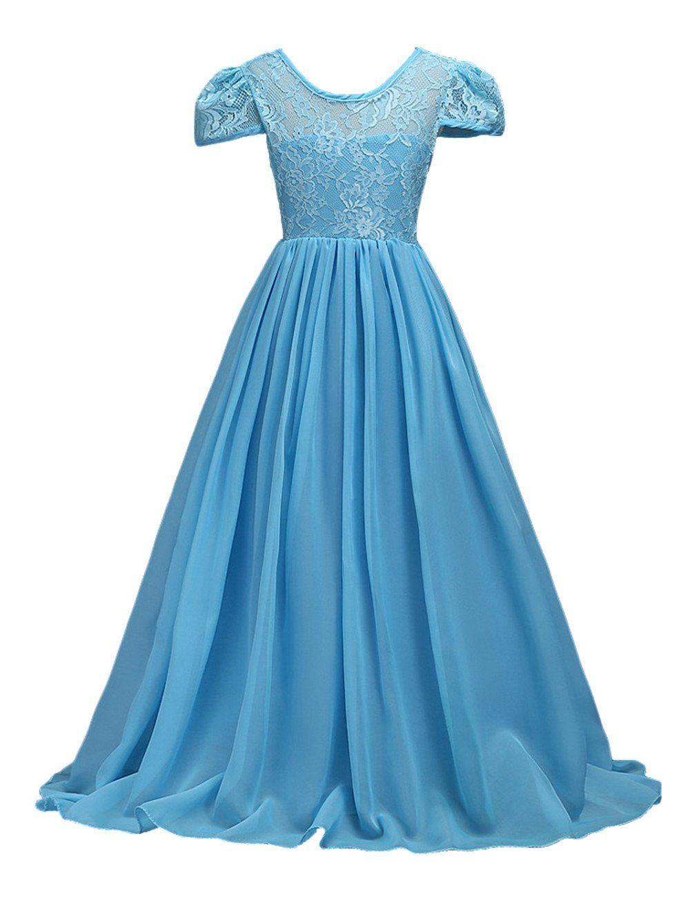KDFSIN Girls Flower Lace Chiffon Long Party Wear Dresses Pageant ...