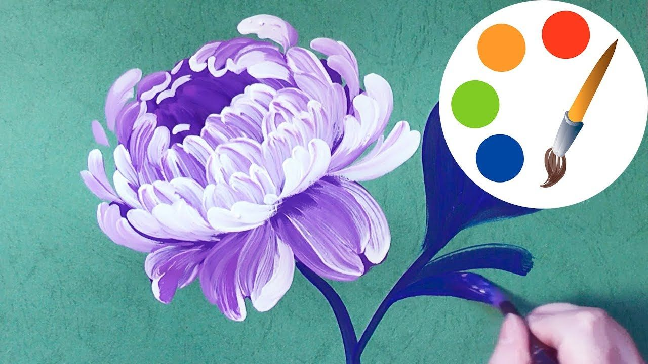 Watercolor Flowers And Paint Brushes: Easy Way To Paint The Peony, Painting By A Round Brush