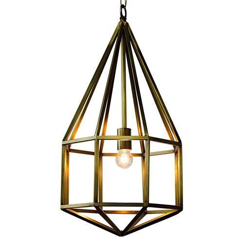 Alyssa Modern Classic Antique Brass Diamond Pendant | Kathy Kuo Home