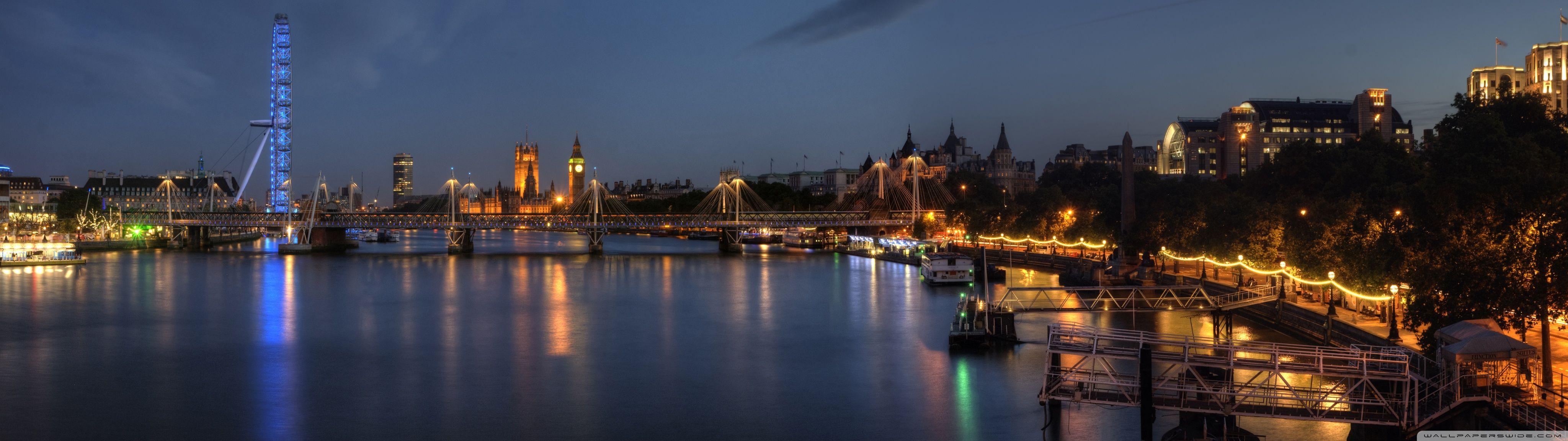 London At Night Panorama HD desktop wallpaper Widescreen High
