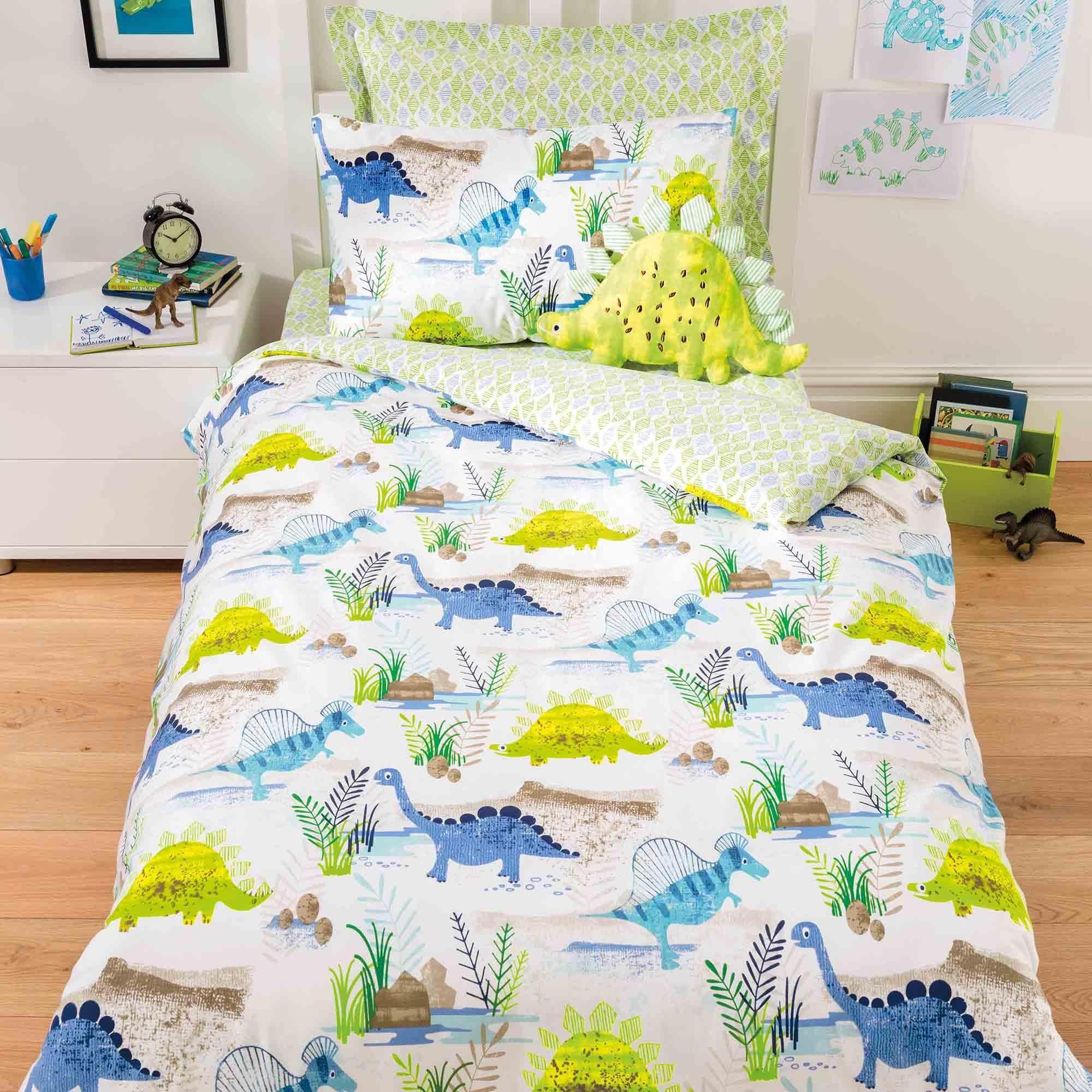 Dinosaur Reversible Green Duvet Cover