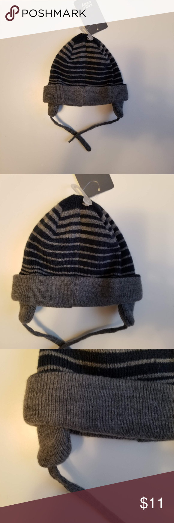 bb26fcc325911 Zara Baby Boys Striped Winter Knit Hat Size 6-12 M Zara Baby Boys Striped