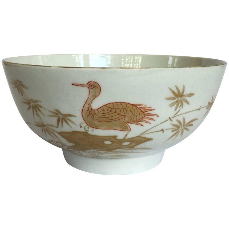 Worcester bowl, decorated probably in the Giles Studio with an unusual Chinese style pattern in gold with red outlines, with a large bird on a rock amongst flowers, circa 1775. References: ref. Zorensky sale, lot 235 for a coffee cup in this pattern, 'possibly workshop of James Giles'. The decoration is very untypical in style and execution of anything the factory did, and Giles is a likely candidate, although there were numerous other decorating studios in London at the period. The pieces recor
