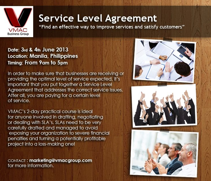 Upcoming Training Service Level Agreement  Manila Philippines