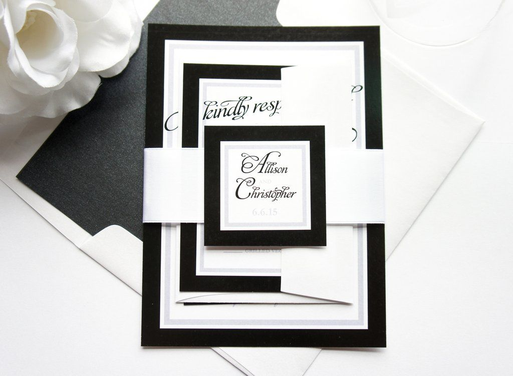Black and White Wedding Invitation - SAMPLE SET   Formal wedding ...