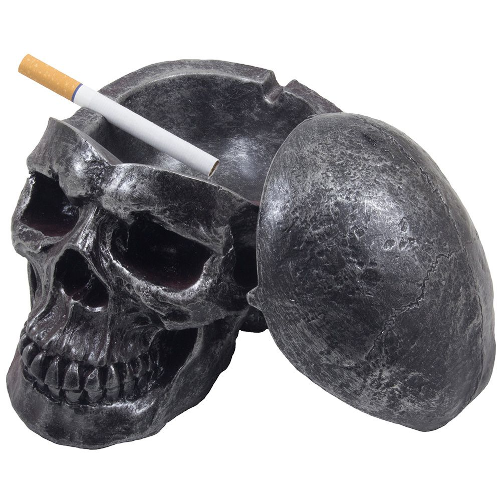 Photo of Scary Human Skull Covered Ashtray in Metallic Look for Spooky Halloween Decorations or Gothic Decor for Bar or Smoking Room by Home 'n Gifts – Walmart.com