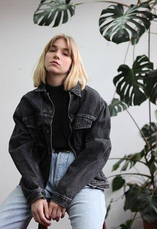 Vintage90slevisoversizedblackdenimjacket Women Jean Jackets Ideas Of Women Jean Jackets In 2020 Black Denim Jacket Outfit Jean Jacket Outfits Black Denim Jacket