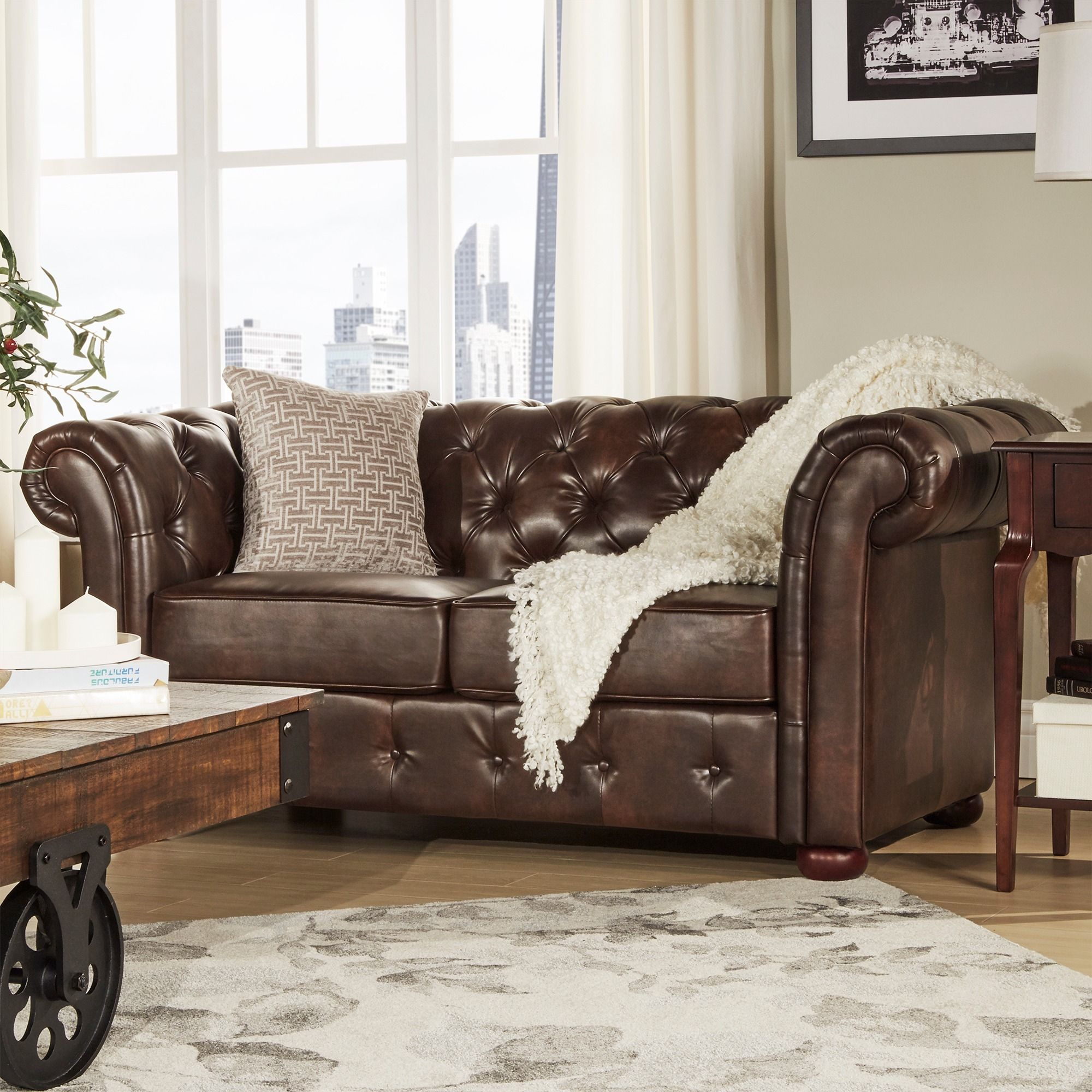 Knightsbridge Brown Bonded Leather Tufted Scroll Arm Chesterfield Loveseat  by iNSPIRE Q Artisan by iNSPIRE Q