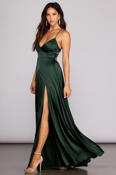 Windsor Vera Satin Lace Up Formal Dress in Emerald