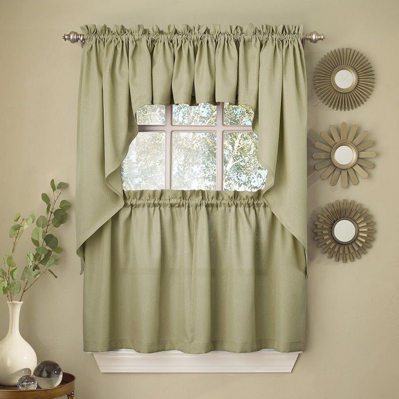 Sage Solid Opaque Ribcord Kitchen Window Treatments Sweet Home Collection Kitchen Curtains Valance