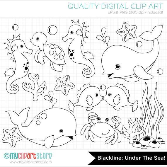 Under The Sea Clip Art Digital Stamps Clipart Instant Download Disegni Bambini Disegnare Animali Disegni Da Colorare
