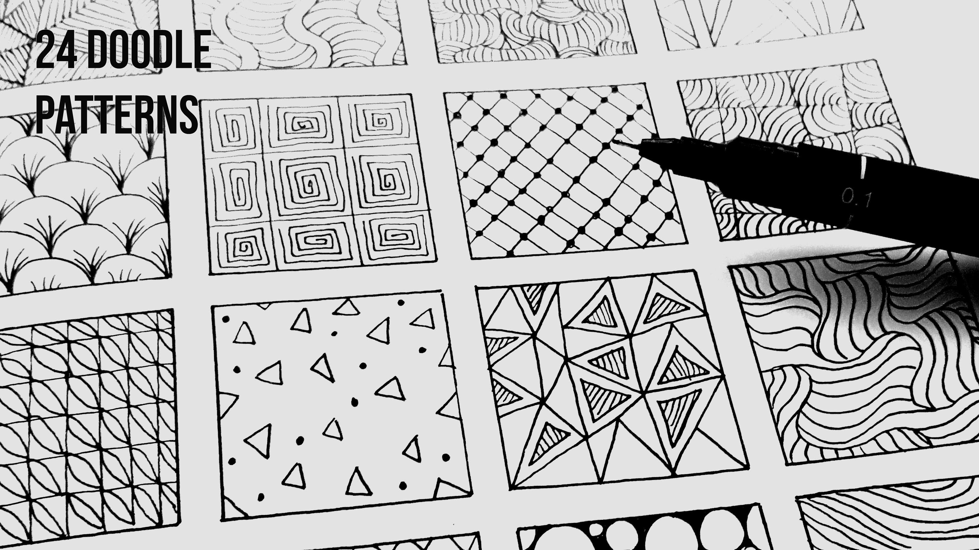 24 Easy Doodle Patterns Part 1 | Speed-Up ART - YouTube | ZENTANGLE