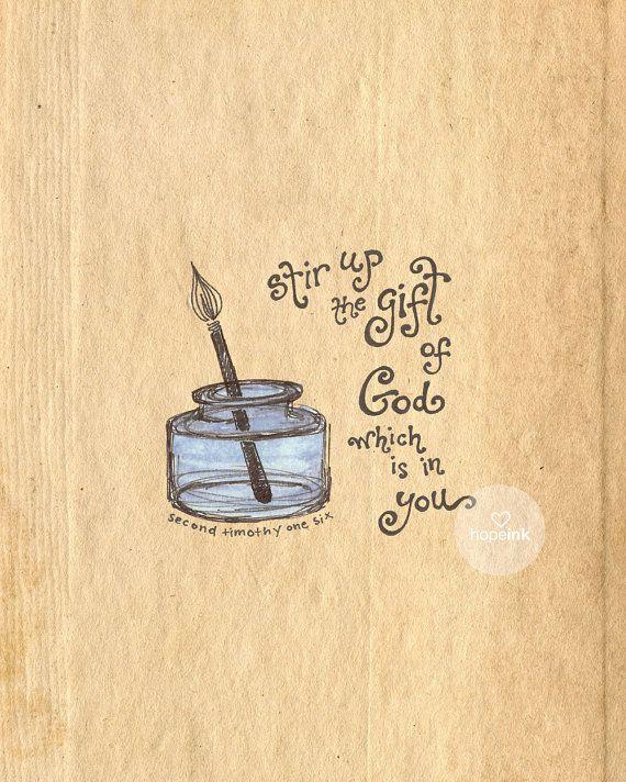 Scripture Art Print, Stir Up The Gift, 2 Timothy 1, Hand Drawn ...