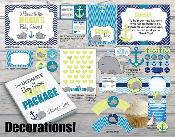 baby shower party activities games u0026 banners kit nautical whales n waves anchor teal navy green instant download diy