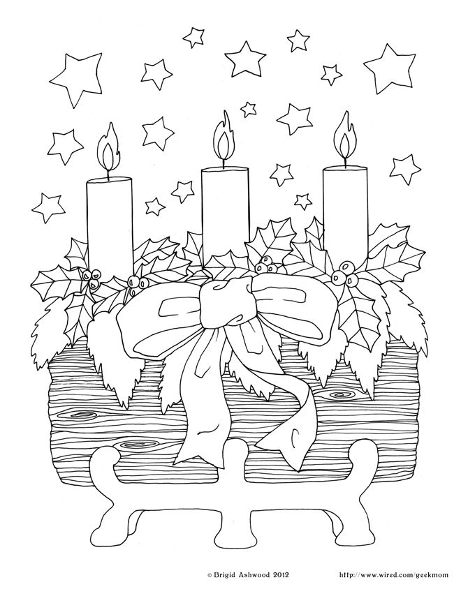 Holiday Printable Fun The Yule Log Coloring Pages Yule Crafts