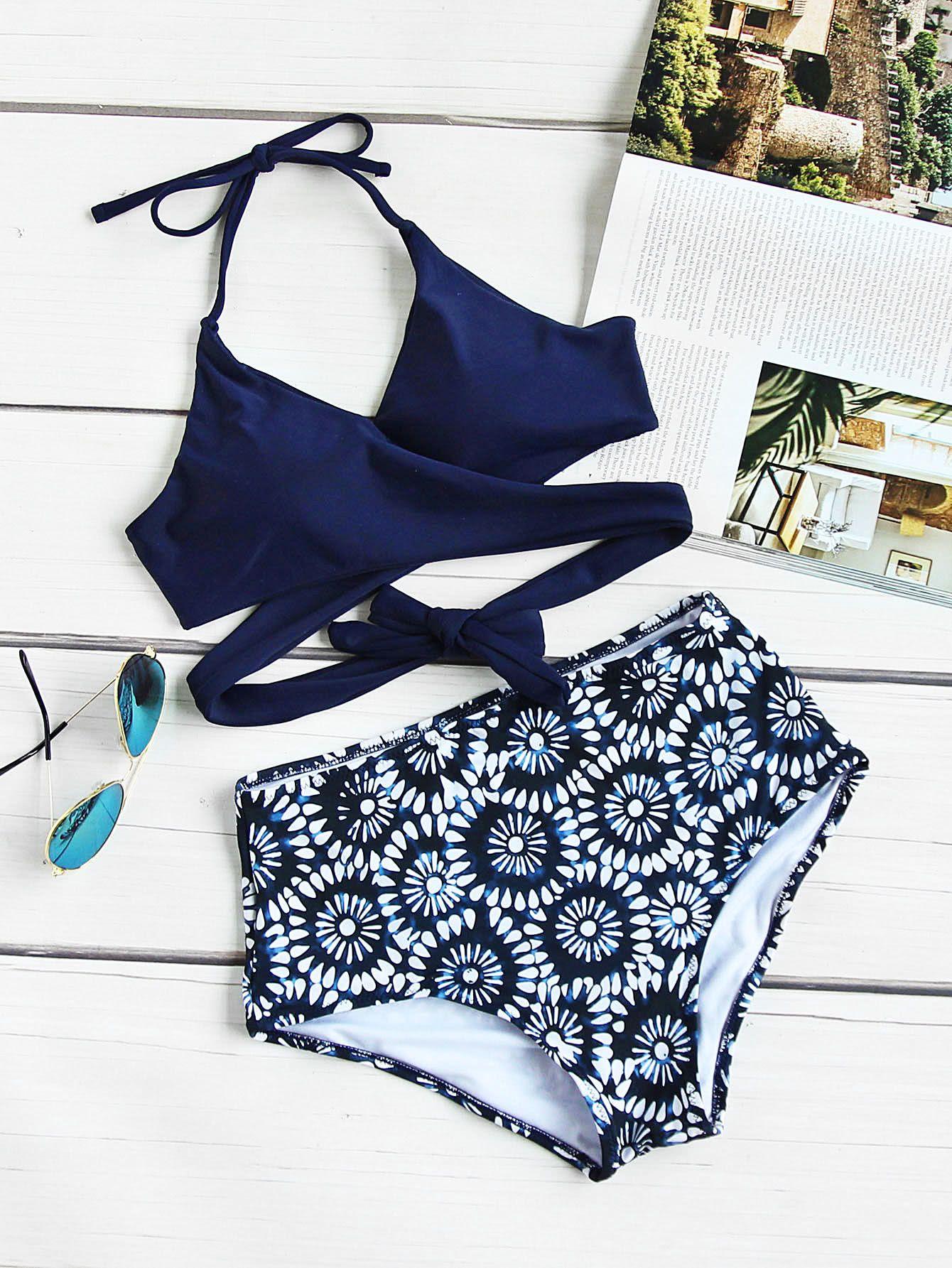 453ef75a7e6ac Calico Print Wrap High Waist Bikini SetFor Women-romwe   bikini ...