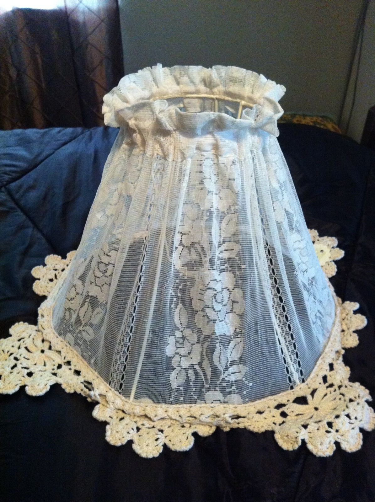 Lampshade Made Form Old Lace Curtain Shabby Chic Lamps