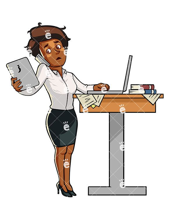 A Savvy Black Businesswoman Multitasking While Standing ...