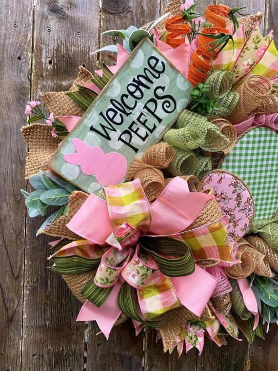 Easter Wreath, Spring Wreath, Easter Deco Mesh Wreath, Spring Deco Mesh Wreath, Easter Decor, Spring Decor, Welcome Wreath, Welcome Decor #decomeshwreaths