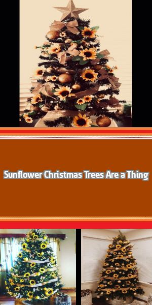 Sunflower Christmas Trees Are a Thing, and They're Just as Beautiful as You'd Expect You might associate bright and lovely sunflowers with Summer and Fall, but now they're a Christmas tree trend, and we gotta say . . . we love it. #sunflowerchristmastree