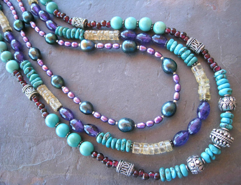 Purple Pink Pearls Multi Strand Necklace Chunky Agate Pendant Statement Artisan Jewels