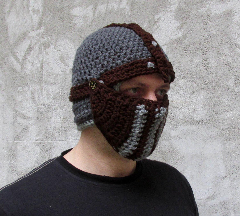 Winter hat crochet knight hat crochet helmet knit helmet ...