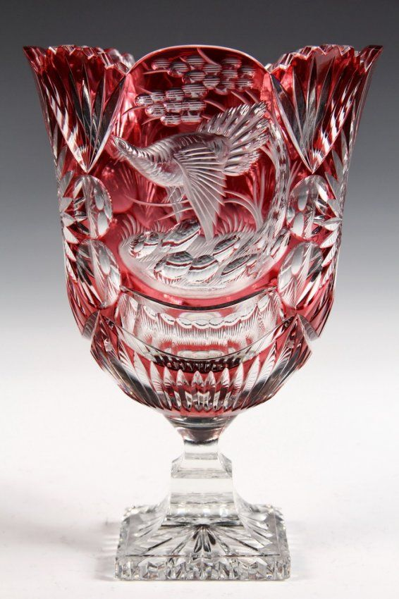 CZECH ART GLASS - Bohemian Cranberry Cut to Clear pedestal vase by Carl Goldberg, featuring game birds and starbursts