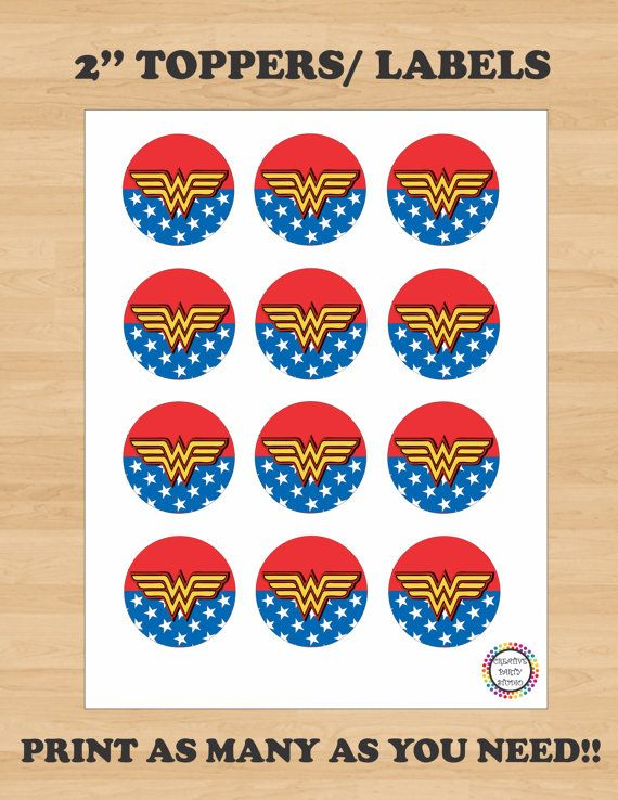 Printable 2 Wonder Woman Birthday Party Cupcake  5d4c8b1a316f3