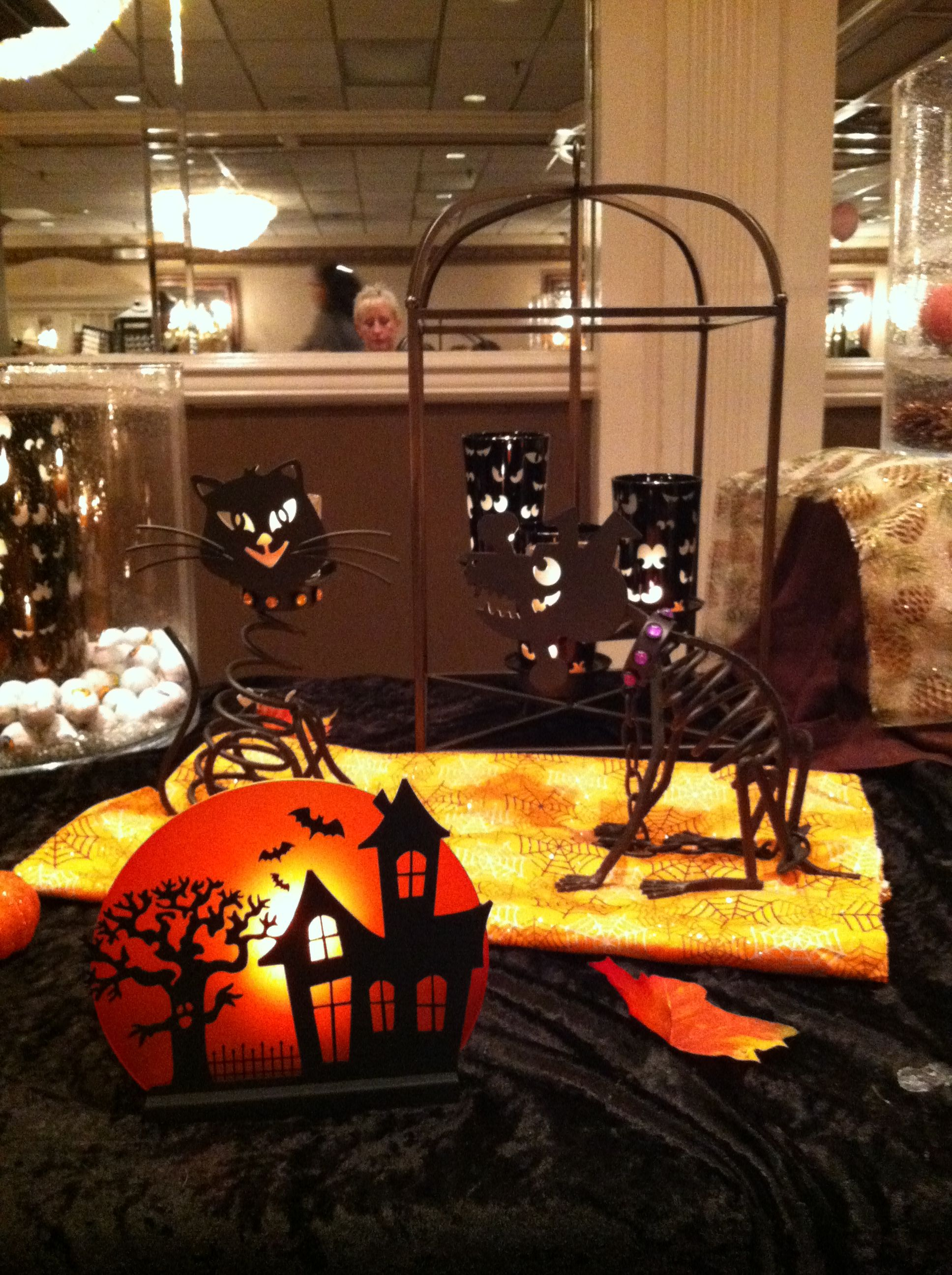 #partylite #framework candle lantern with spooky eyes votive holders. #Stones(cat) and #Sticks(dog). #spooky house votive holder www.partylite.biz/happymom