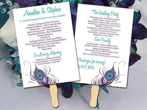 diy wedding program fan template ceremony program peacock feather