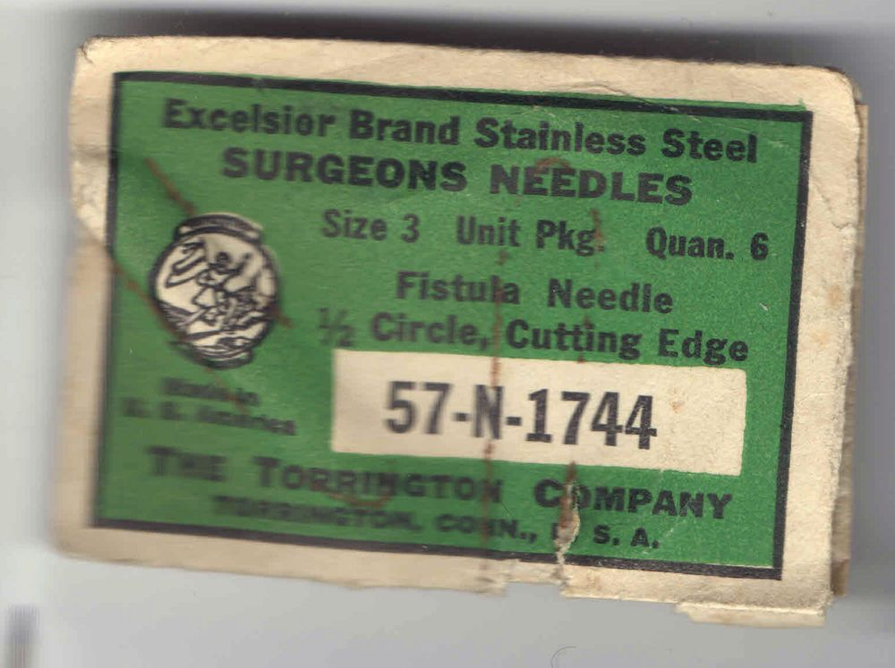 vintage unopened package SURGICAL NEEDLES Excelsior