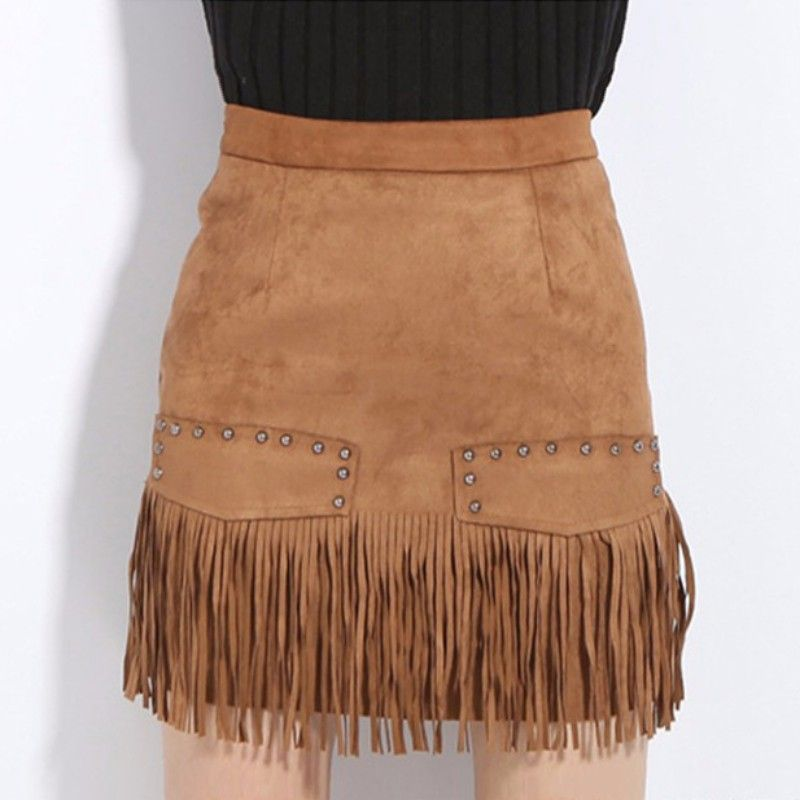 78f11419a Women High Waist Faux Leather Skirt Street Pencil Mini Fringe Tassel Suede  Short Asymmetrical Office Skirt