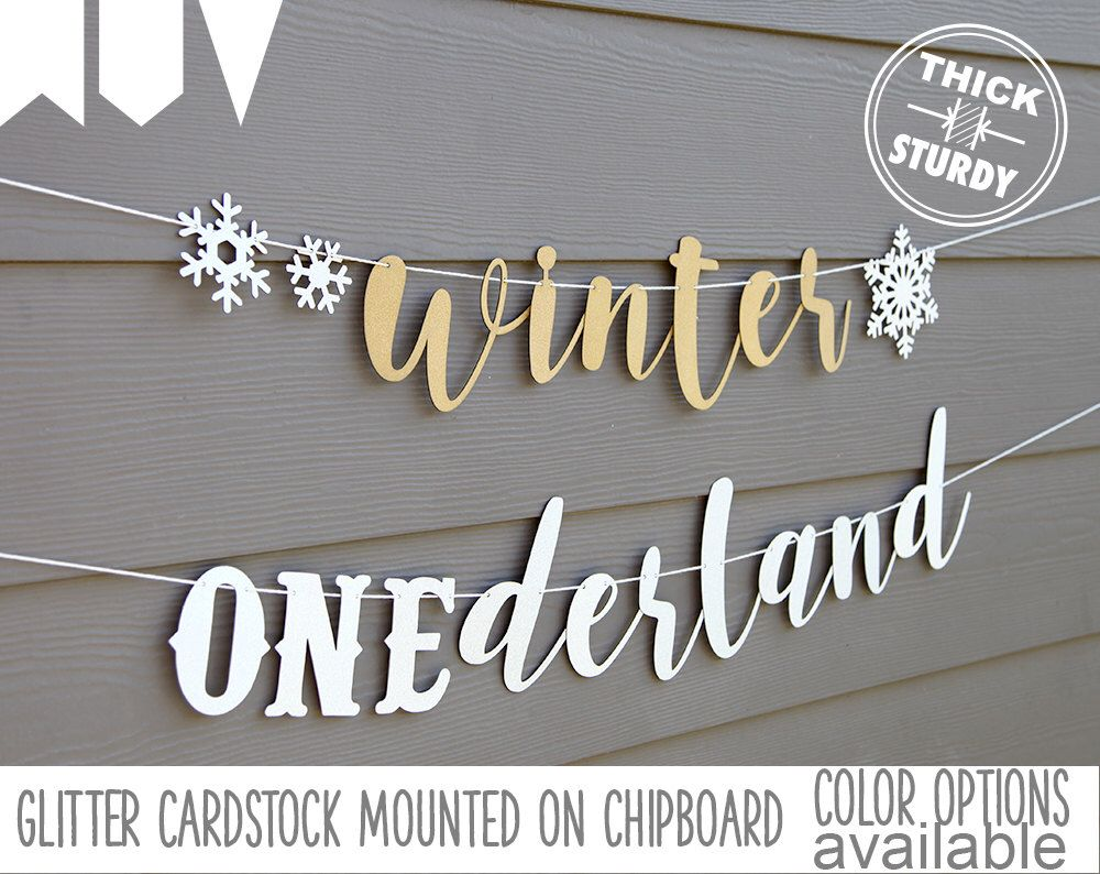 winter onederland banner with snowflakes winter 1st birthday glitter party decorations cursive