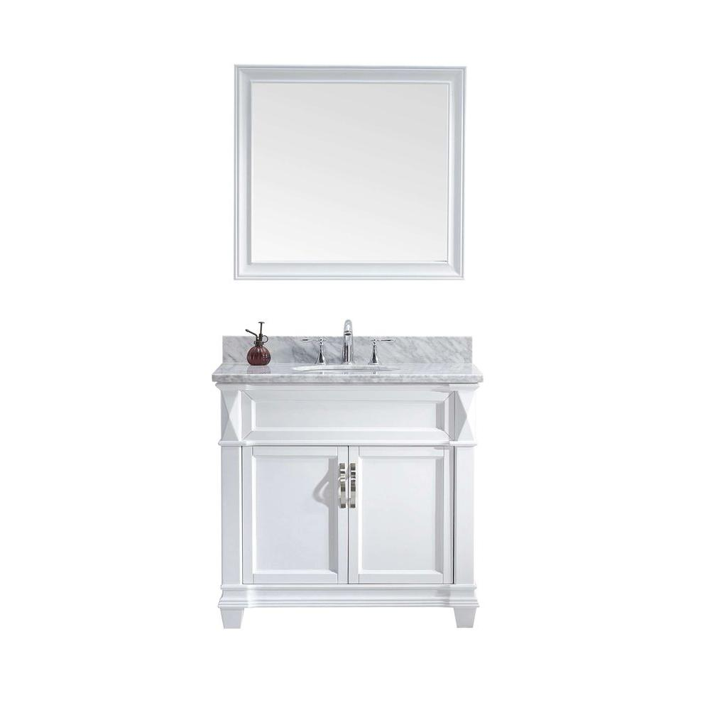 Virtu Usa Victoria 36 In W Bath Vanity In White With Marble