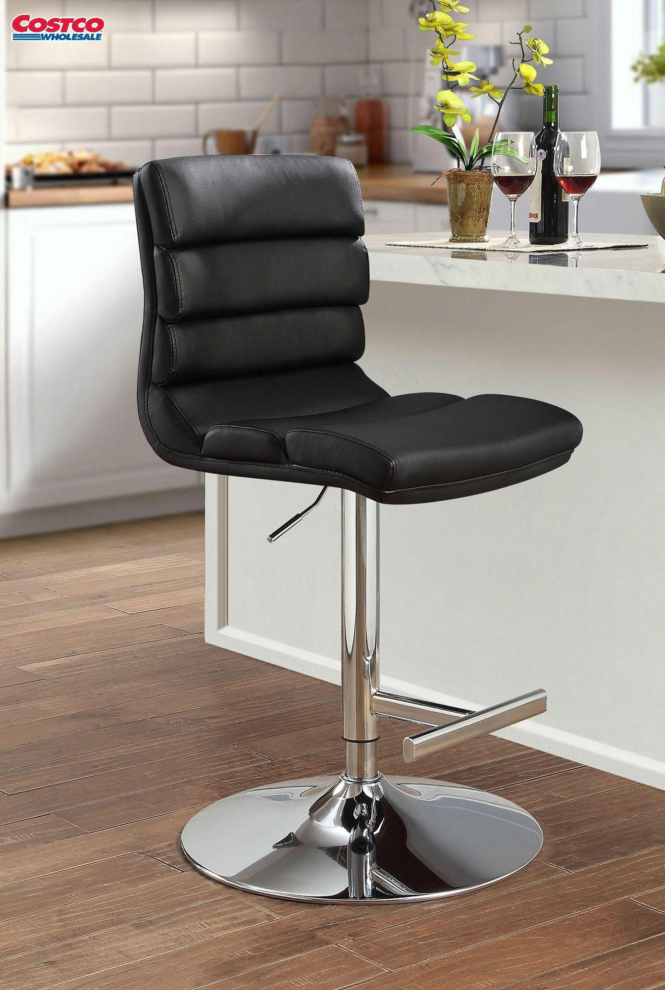 The Contemporary Solara Adjustable Bar Stool Features A Black
